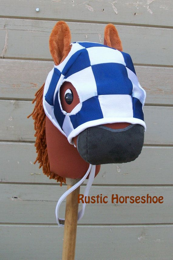 MADE to ORDER Race Horse Stick Horse Mask and par RusticHorseShoe