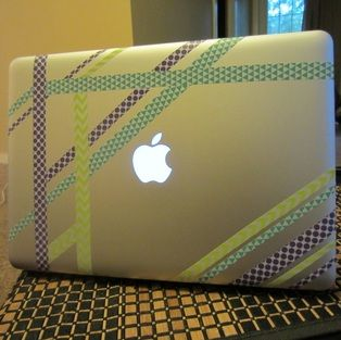 DIY washi tape on laptop                                                                                                                                                     More