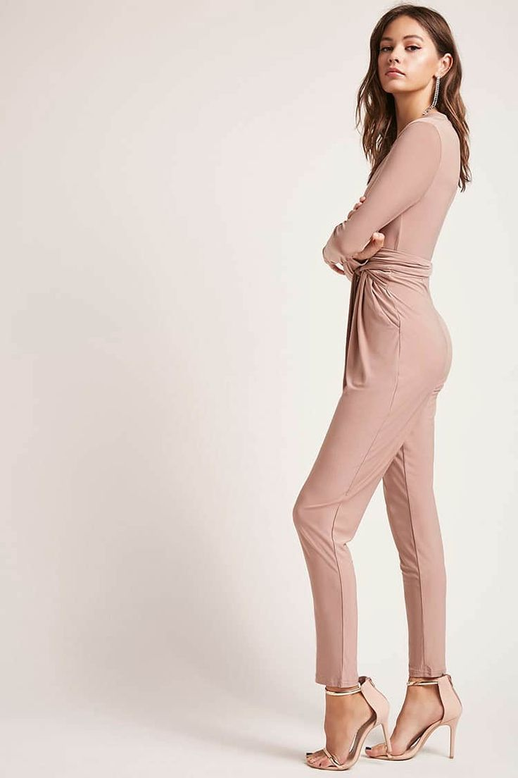 Tie-Front Ruched Jumpsuit - Playsuits + Jumpsuits - 2000228524 - Forever 21 EU English