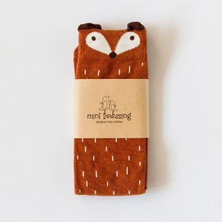 """Chaussettes hautes marrons """"Raccoon"""" motif raton laveur renard mini dressing minidressing pour enfant"""