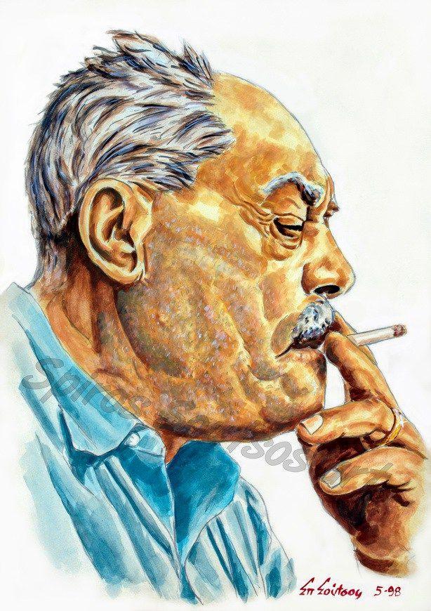 Μάρκος Βαμβακάρης πορτραίτο αφίσα, αυθεντικός πίνακας ζωγραφικής