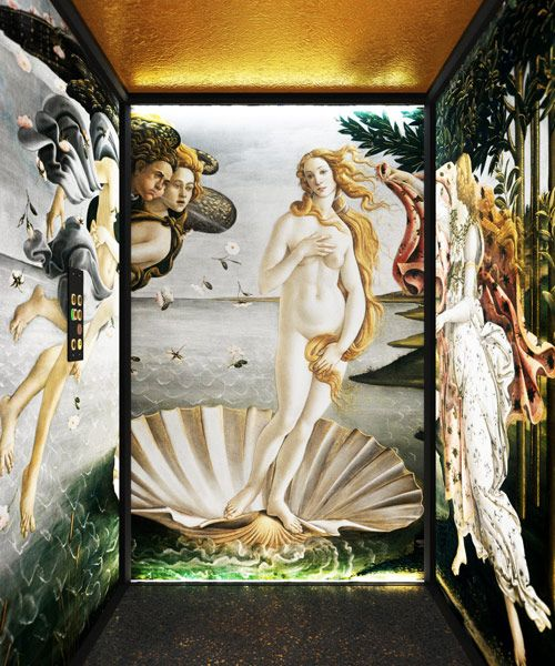 The new lifting platform model featuring Birth of Venus by Botticelli. DomusLift Art - Limited Edition