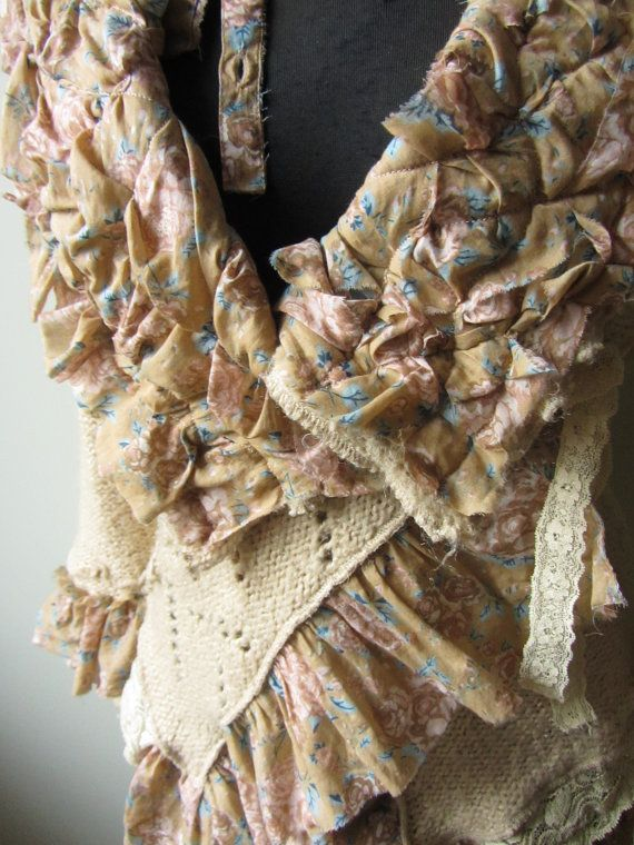 Upcycled Tattered Shabby Chic Wrap by GarageCoutureClothes on Etsy