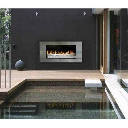 Escea Outdoor Gas Fireplace with stainless steel surround and White  Pebbles Coals 31 best outdoor stainless images on Pinterest   Gas fireplaces  . Outdoor Fireplace Insert. Home Design Ideas