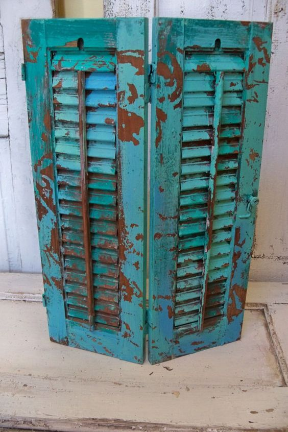 hand painted caribbean turquoise wooden shutter beach cottage distressed home decor anita spero