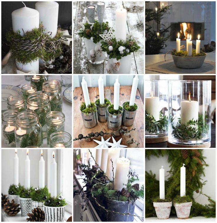 HOMETROTTER. Home style blog | casa, arredamento, design #getinspired: CHRISTMAS MOODBOARD #3. Muschio, candele e rami di pino.