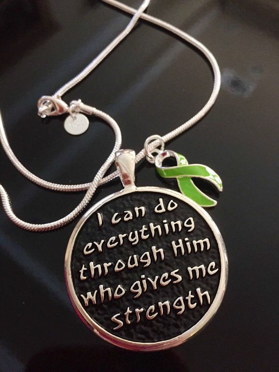 I can do everything through him that gives me strength with lime green charm necklace / Lymphoma, Non-Hodgkins Lymphoma, Lyme Disease, Muscular Dystrophy, Ivemark Syndrome, Sandhoff Disease / Survivor Awareness Gift