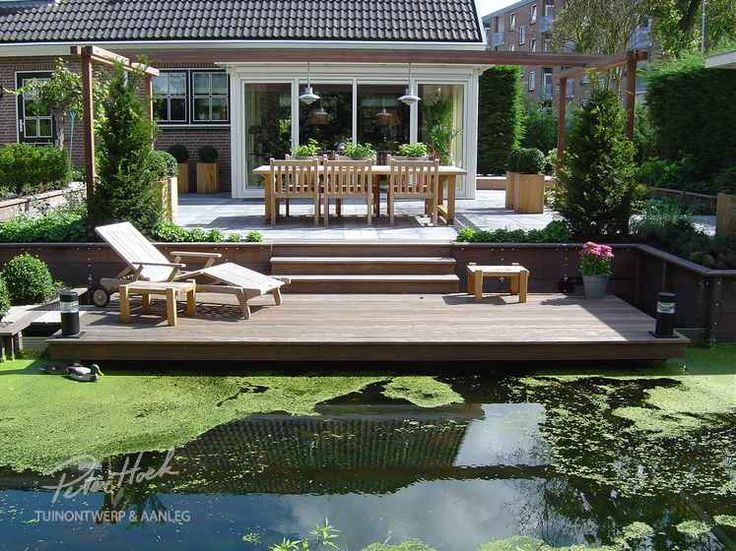 Good Garden with lots of decking to a ditch