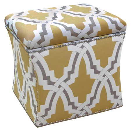 This Chic Little Ottoman Opens To Reveal Storage Space Within.