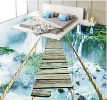 3d estereoscópica palabra wallpaper Cascada Aventura Cuerda Puente De Madera 3d papel tapiz de suelo de vinilo personalizado(China)