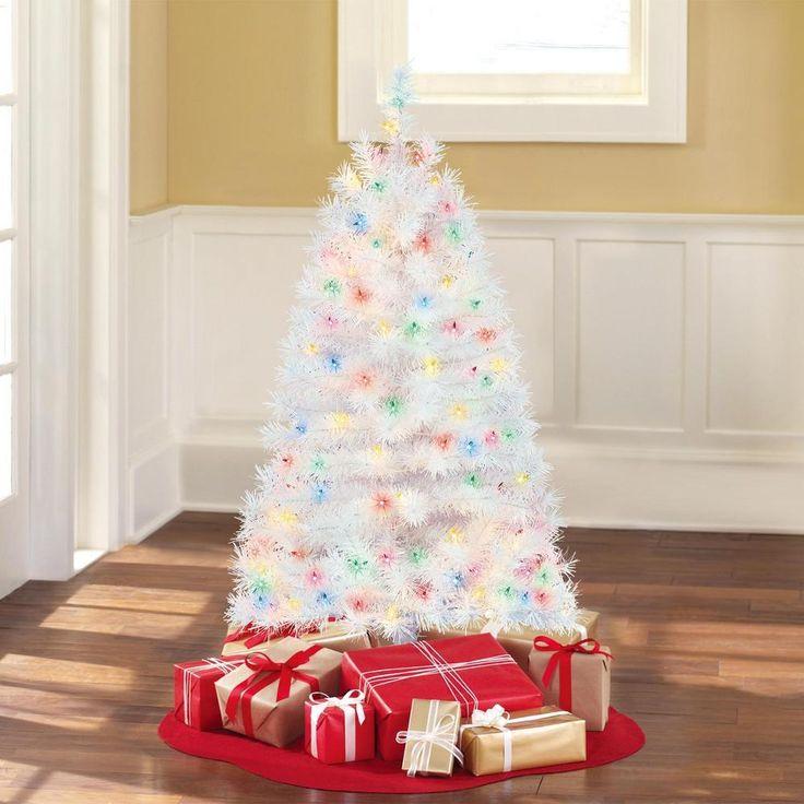 white pre lit artificial christmas tree 4 ft xmas spruce trees holiday decor - 4 Ft White Christmas Tree