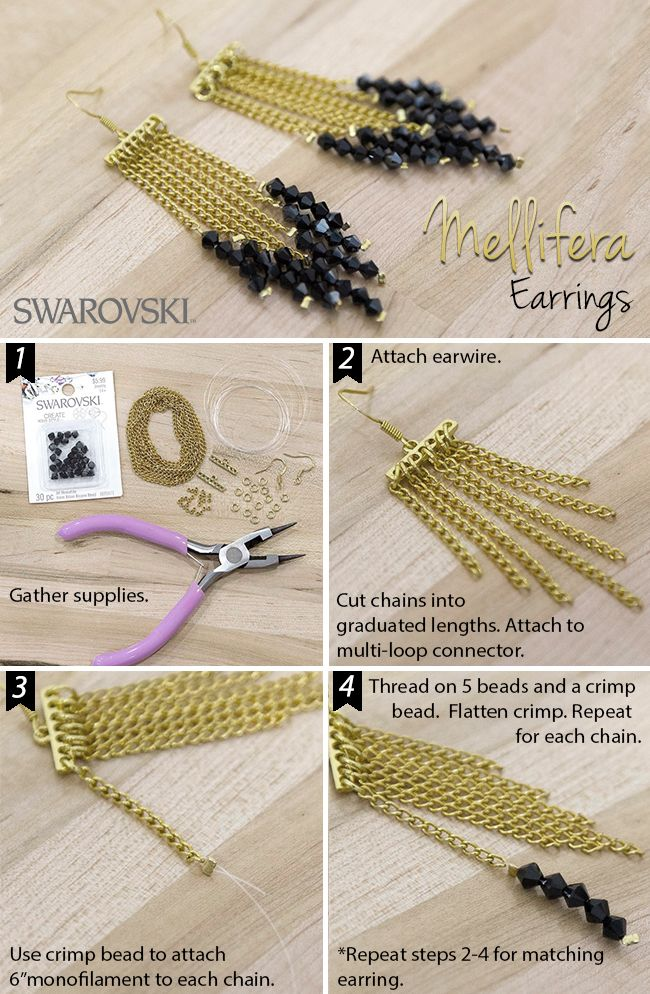Simplicity can speak volumes, as it does with these chain earrings. Swarovski shows us how to make them!