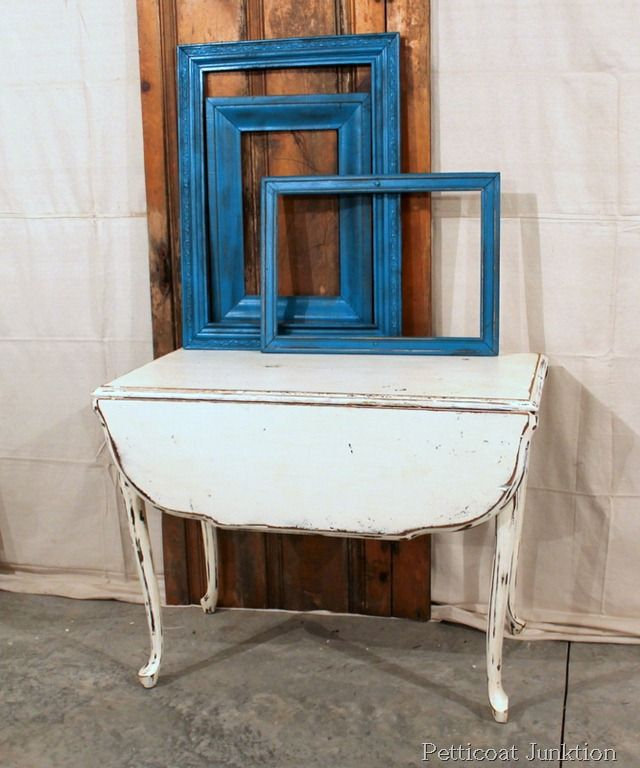 Vintage White Drop Leaf Table and Turquoise Spray Painted Frames