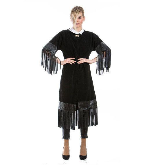 Black Suede Coat, black coat, with fringes