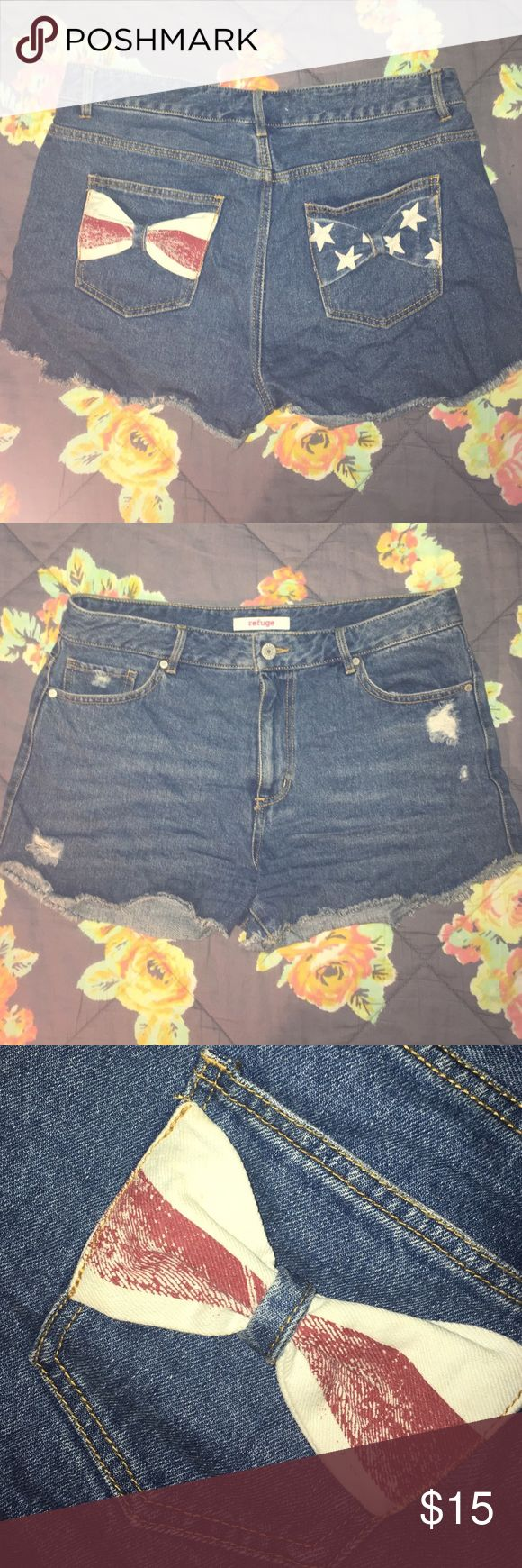 American Flag Bow Jean Shorts Red white and blue American flag bow denim jean shorts, Worn only once, perfect condition, Refuge brand, Size 12 refuge Shorts Jean Shorts