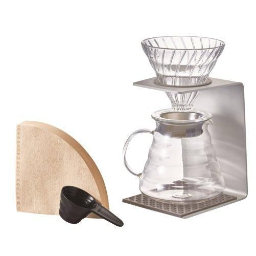 Explore the Hario V60 line and save while you're at it with the Hario V60 Silver Pour Over Set. This bundle includes a piece from the entire V60 line: a glass dripper, aluminum stand, range server, filters, and a coffee scoop.