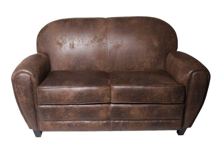 canap club 2 places en microfibre aspect cuir vieilli. Black Bedroom Furniture Sets. Home Design Ideas