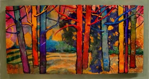 TREE PARTY 12035, contemporary mixed media collage tree painting Carol Nelson Fine Art, painting by artist Carol Nelson