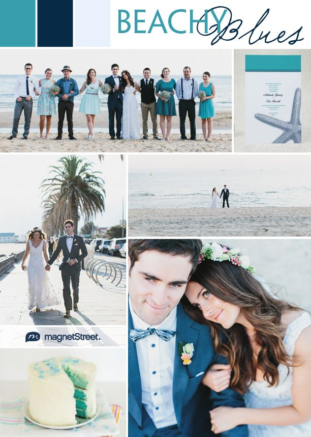 Beach wedding inspiration and wedding invitation. Love the turquoise and navy paired together.