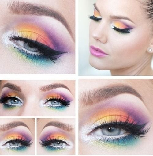 rainbow makeup for unicorn costume random pinterest creative moda and costumes. Black Bedroom Furniture Sets. Home Design Ideas