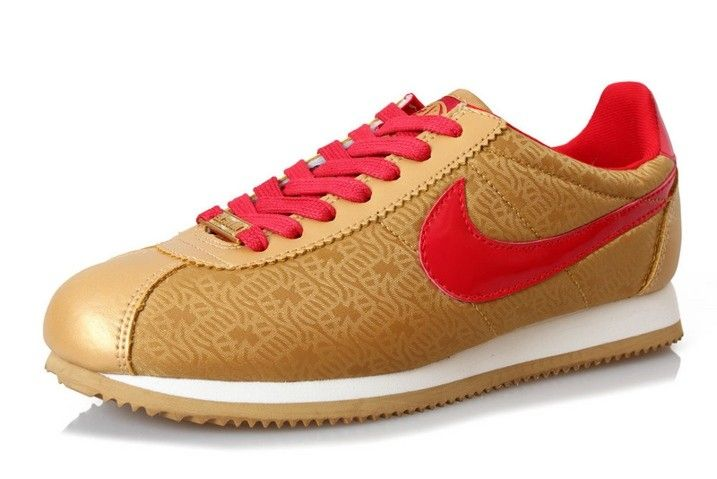 Nike Cortez Red Gold Classic Yoth Womens Shoes Fur