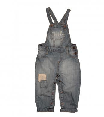 denim dungaree with patches and sparkle naartjie embroidery.  100% cotton excluding trims.