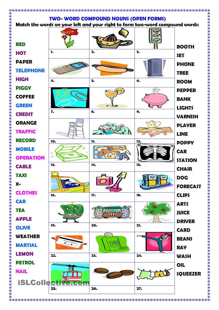 Two-word compound words (open forms)