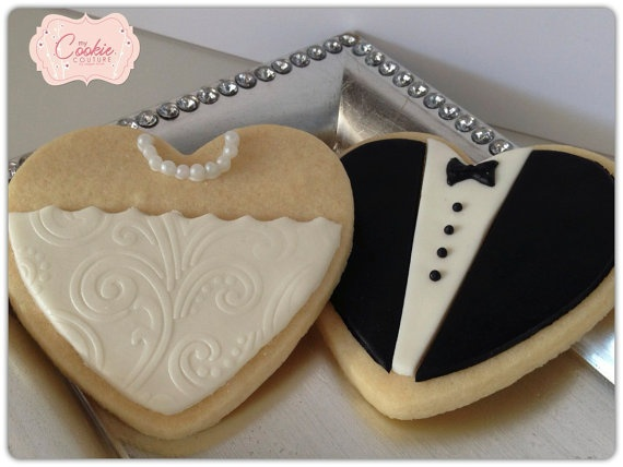 Bride and Groom Cookie Favors