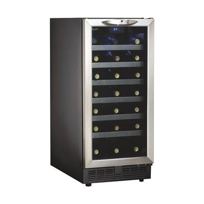 Danby DWC1534BLS Silhouette 34-Bottle Integrated Wine Cooler #home decor sale & deals Finish:Black/Glass Door with Stainless Steel Trim Danby Silhouette 34-Bottle Integrated Wine Cooler With Danby's Silhouette 34-Bottle Integrated Wine ...