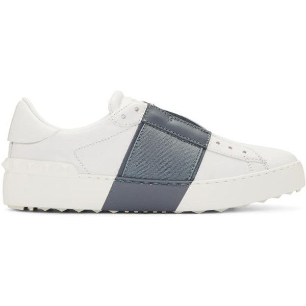 Valentino White and Grey Open Sneakers (£510) ❤ liked on Polyvore featuring shoes, sneakers, white, white trainers, grey sneakers, gray shoes, white leather shoes and gray sneakers