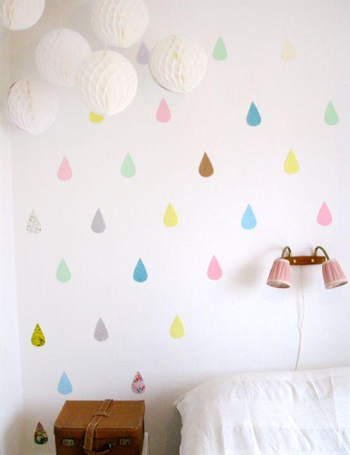 pastel raindrops wall decor