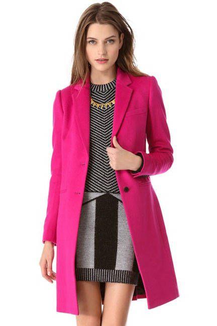 Pinktastic color blast fabulousness  Joseph Man Long Wool Coat, $895; shopbop.com