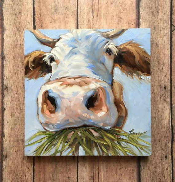 Peinture vache, 6 x 6 pouces original peinture huile impressionniste d'une vache douce, peintures de vaches, vaches Jersey, art vache