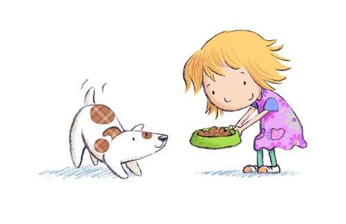 El perro tenía hambre La niña le da comida El perro se la comerá