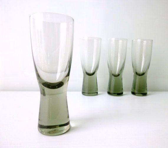 Mid Century Modern Port Glasses x 4 - 'Canada' Smoked Glass - Per Lutken - Holmegaard Denmark - Mad Men, 1960's glassware, Eames Panton Era. €50.00, via Etsy.