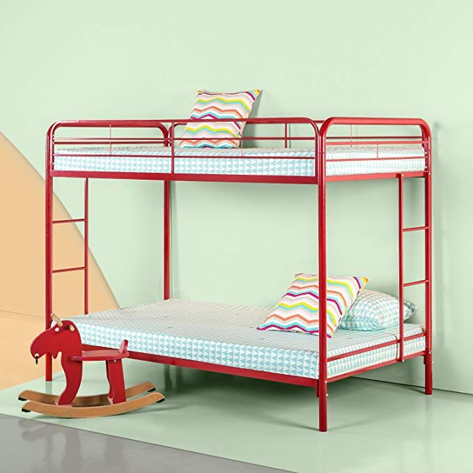 Zinus Easy Assembly Quick Lock Metal Bunk Bed Dual Ladders Twin