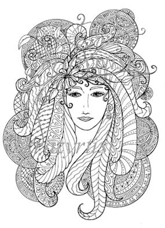 33 best Zentangles - Mujeres images on Pinterest Coloring pages - copy coloring book pages of rabbits