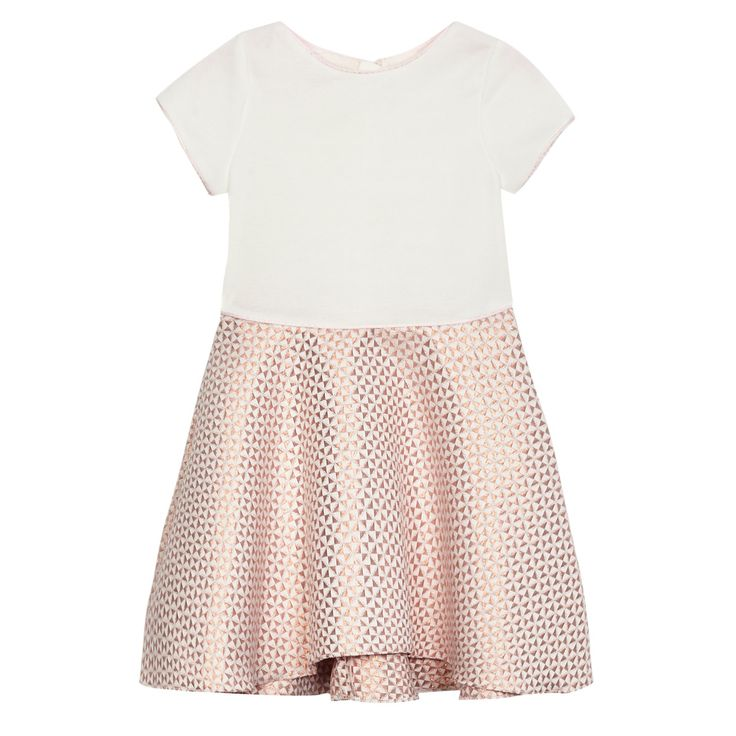 This dress from the Baker by Ted Baker childrenswear range is a great occasion piece. Featuring a simple cream top detailed with a rose gold trim, this pretty style is finished with a beautiful flared skirt in a rose gold jacquard pattern. Team with cream ballet pumps and a bow headband for a cute party look.