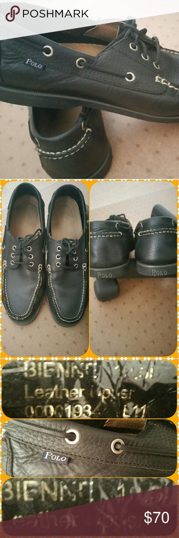 Men Polo Ralph Lauren Boat Shoe Leather upper, leather laces and side lacing detail. Rubber soles. Gently used but in great condition. Unfortunately,  I don't have the original box. Polo by Ralph Lauren Shoes Boat Shoes