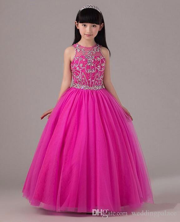 2016 Ball Gown Beaded Little Flower Girl Dresses Pageant Dress Keyhole Back Fuchsia Tulle Long Kids Formal Dress Custom Made