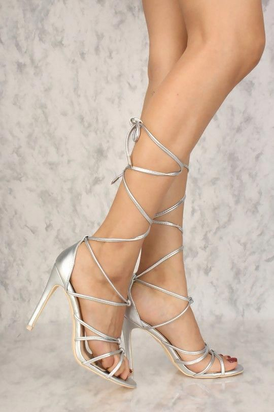 8fbf829861b Sexy Silver Strappy Knot Open Toe High Heels Faux Leather  Promshoes ...