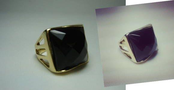 Anel Folhado Pedra Obsidiana Negra