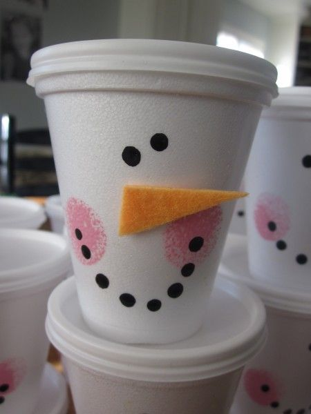 Snowman Cups - A great #DIY #Christmas party favor!: Christmas Parties, Snowman Cups, Craft, Hot Chocolate, Gift Ideas, Christmas Party, Party Ideas