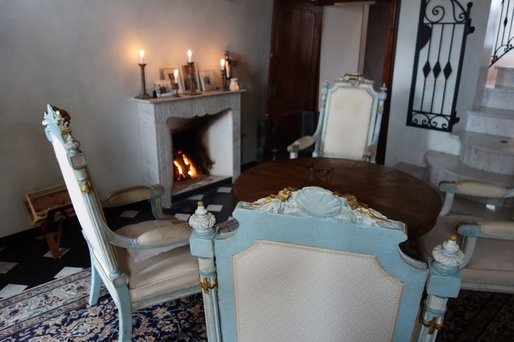music room with fire place