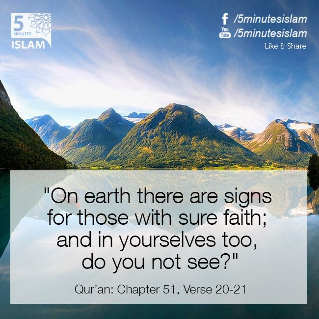 """""""On earth there are signs for those with sure faith; and in yourselves too, do you not see?"""" Quran: Chapter 51, Verse 20-21  Please Like, Share and Spread the message. http://www.youtube.com/5MinutesIslam https://www.facebook.com/5MinutesIslam Islamic Quotes, Quranic verses, Hadith quotes, Islam, Muslim, Pious, Quran, Bukhari, poster, Quotations, God, Allah, One God, True God, Muhammad, Jesus, Abraham, Moses, Maryam, Non-muslim, Muslimah,"""