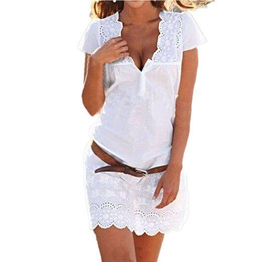 SUNNOW® Elegant Damen Sommerkleid Kurzarm Strandkleid Casual Spitze Blumen Rock Partykleid Tunika Frauen T-Shirt Blusen (XL, 1 Weiß)