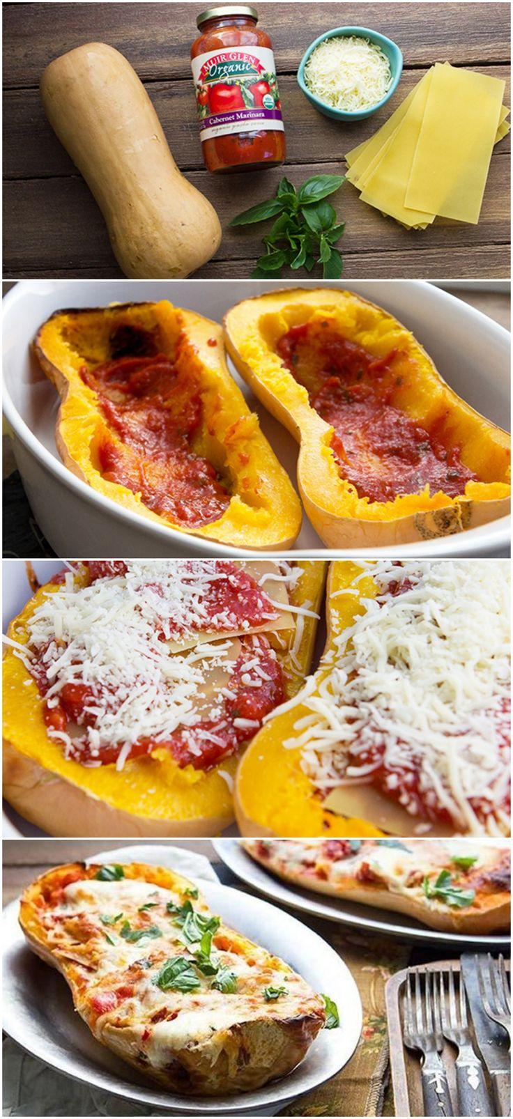 Butternut Squash Lasagne - Forkog lagsagnepladerne, eller erstat med letkogt pasta/bulgur/perlespelt…