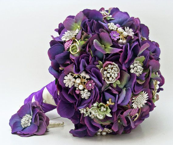 Brooches & Blooms Bridal Bouquet Purple Brooch Bouquet Groom Boutonniere Purple Green Silk Hydrangea Flower Brooches Rhinestone Purple Green