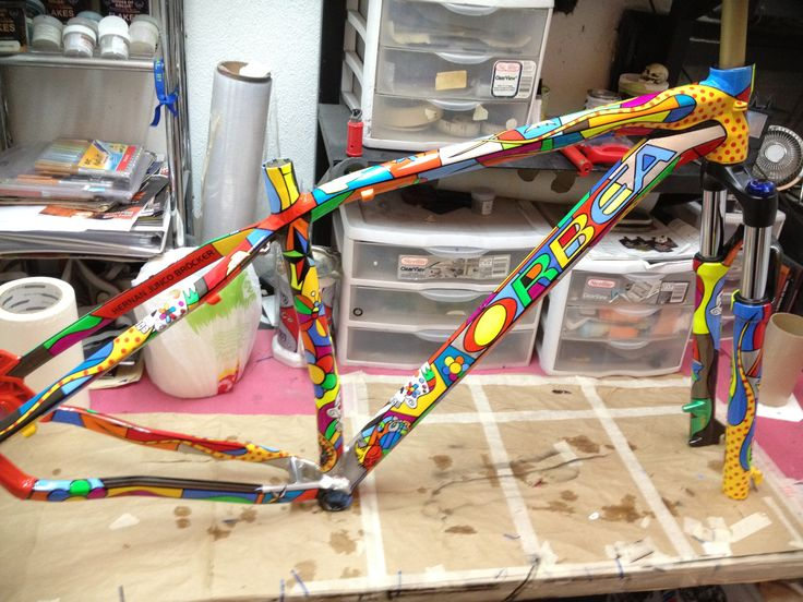 Custom paint job on an Orbea mountain bike