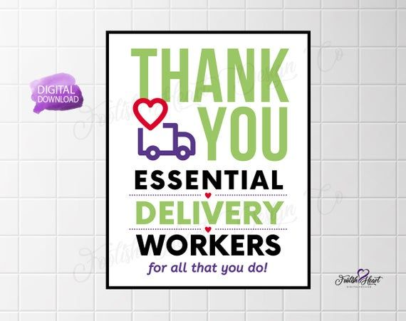 Thank You Essential Delivery Workers Thank A Trucker Amazon Delivery Essential Worker Thanks Frontline Digital Download Jpg Pdf Appreciation Printable Thank You Poster Thank You Sign